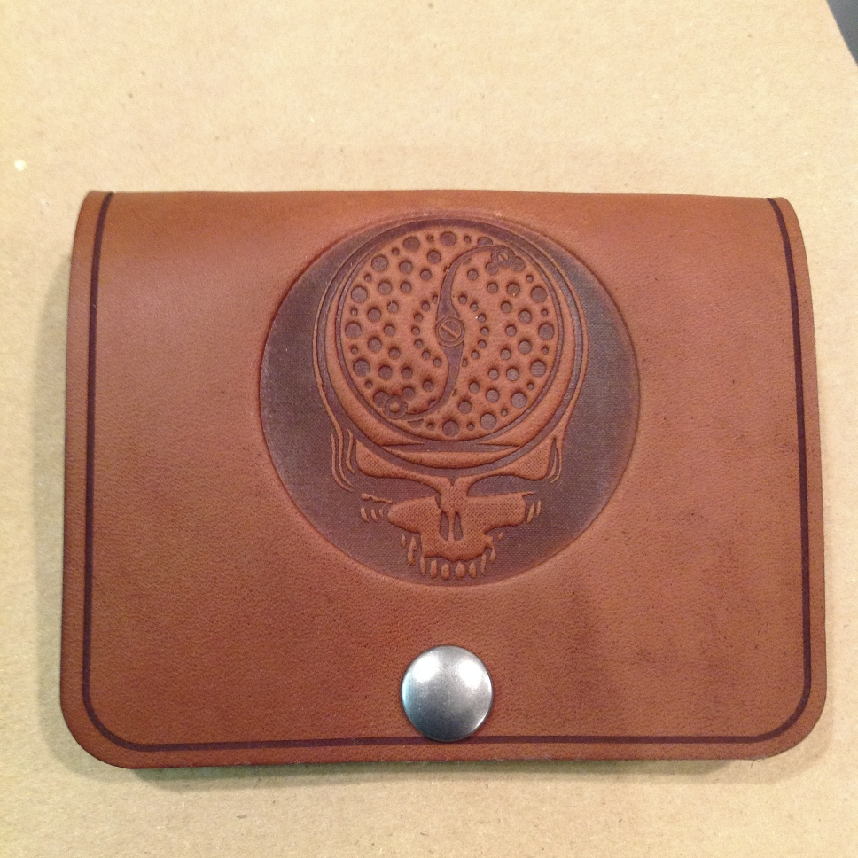 Leather and Shearling Fly Wallets - Embossed